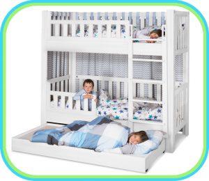 das Kinderbett LISTOflex, aufgebaut als Etagenbett / SALTO - Möbel für Kinder / München
