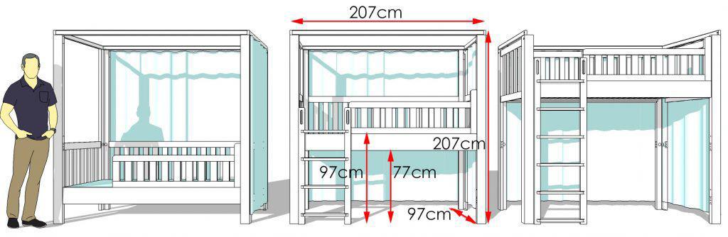 Kinderbett LISTOflex Maßzeichnung / SALTO Kinderbetten München